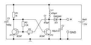 DC DC converter 1.5 To 3V schematic.