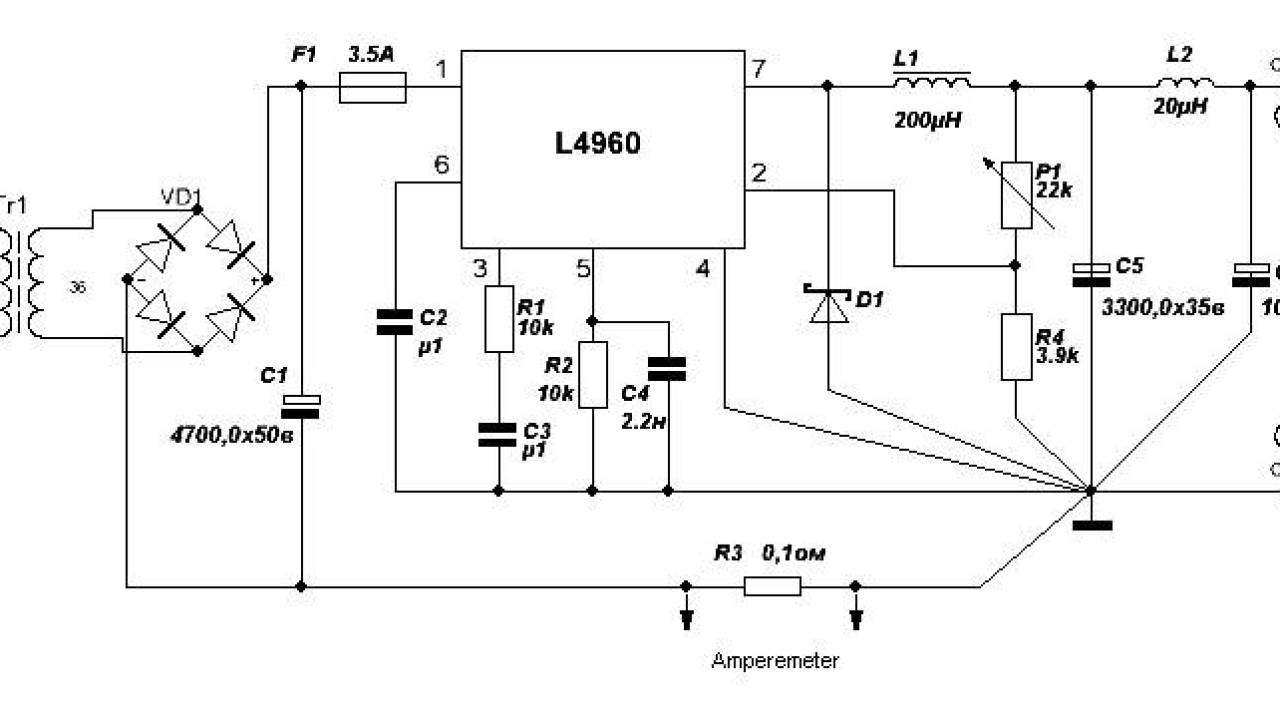 Simple Variable Power Supply Using L4960 - Lir Wiring 101 on variable voltage and current 130dc, variable tube power supply diagrams, variable high current power supply, variable power supply kits, variable resistor, variable voltage circuit, stepper motor schematic, power source schematic, variable power supply design, variable voltage e-cig battery, variable voltage regulator,