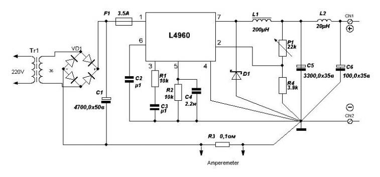 Simple Variable Power Supply using L4960 - Power Supply Circuits