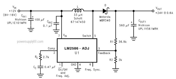 DC Voltage Doubler Circuit +12V to +24V using LM2586 - Power Supply