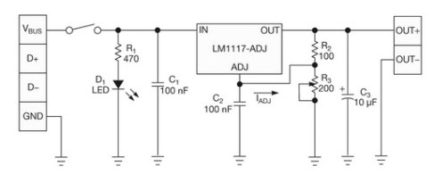 Power Supply from USB Port - Power Supply Circuits on usb to ps2 controller wiring diagram, usb front panel wiring diagram, usb audio diagram, vga to rca cable diagram, usb circuit board schematics, led light bulb circuit diagram, usb cable diagram, usb solder diagram,