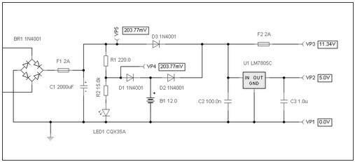 basic ups modeling circuit during a power outage