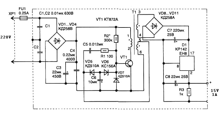simple switching power supply 15 watt