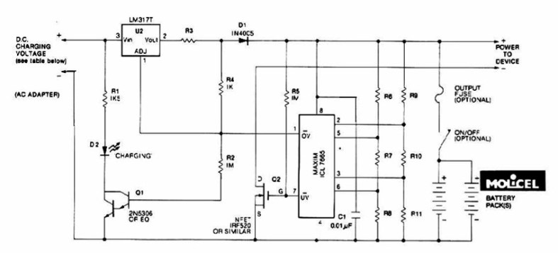 Lithium Battery Charger - Power Supply Circuits on nicad charger schematic, li-ion charger schematic, nimh charger schematic, gel cell charger schematic,