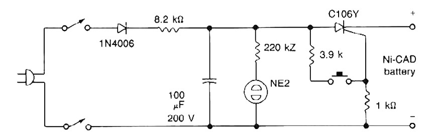 nicad battery zapper power supply circuits