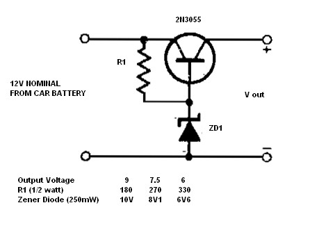 Heat Sink Wiring Diagram Simple 12v To 9 7 5 Or 6v Converter Power Supply Circuits