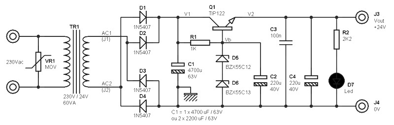 24 volts power supply at 2 amperes schematic - Power Supply Circuits