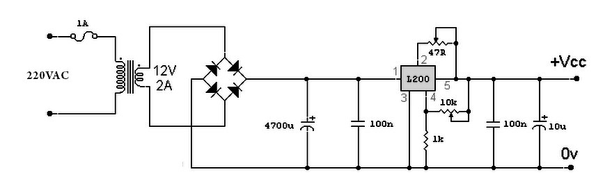 simple power supply L200 circuit diagram Power Supply Circuits