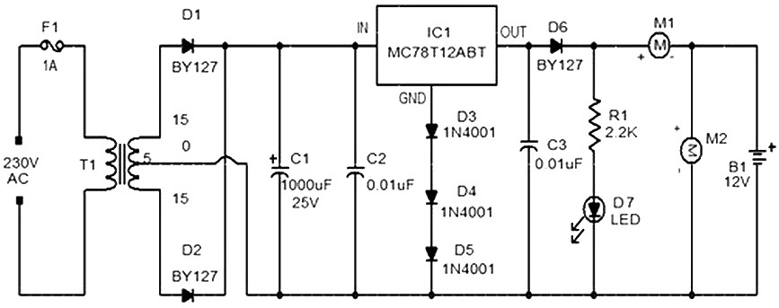 Trickle Charger Circuit Diagram | 12 V Car Battery Charger Based 7812 Power Supply Circuits
