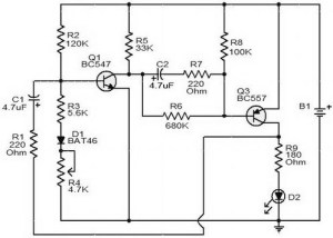 Flashing battery monitor circuit diagram