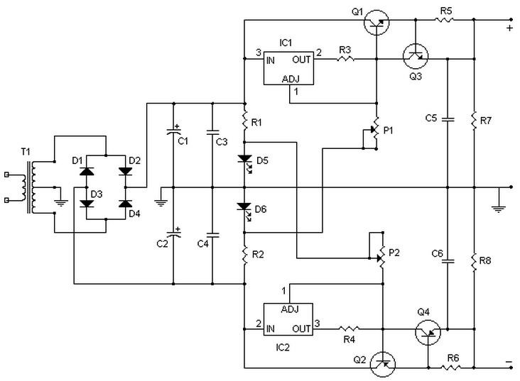 Symmetrical regulated power supply schematic