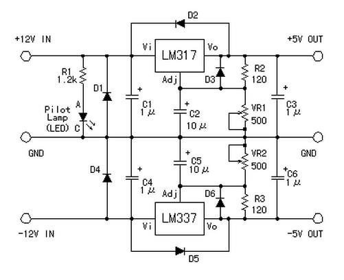 symmetric 12v to 5v converter power supply circuitssymmetric 12v to 5v converter