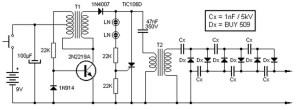 Converter 9V to 13.5kV scheme