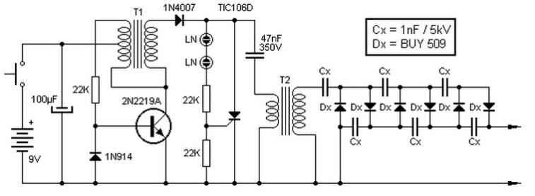 Converter 9V to 13 5kV - Power Supply Circuits