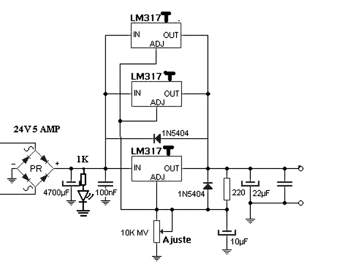 Power supply 4.5 A with 3 LM317 in parallel - Power Supply Circuits