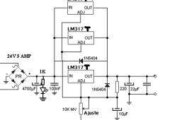 Power supply 4.5 A with 3 LM317 in parallel