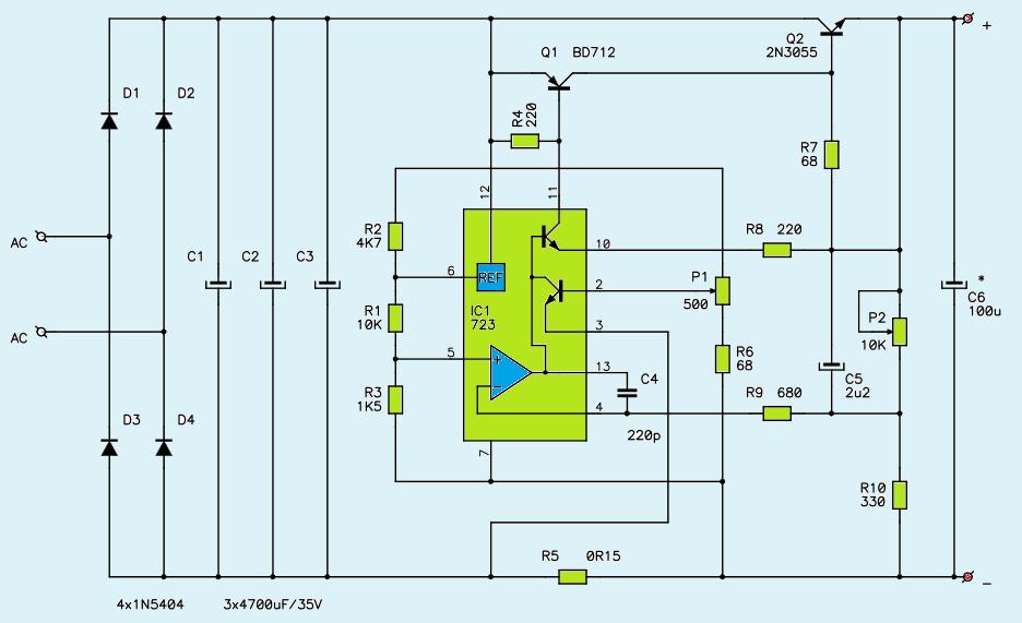 1V27V 3A Variable DC Power Supply Circuit Diagram  Power