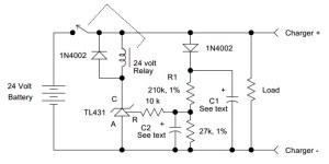 Circuit diagram of battery charging monitor