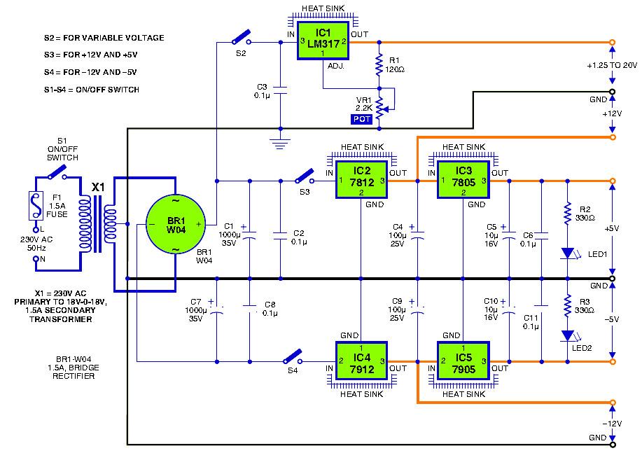 triple output dc powersupply circuit power supply circuitstriple output dc powersupply circuit