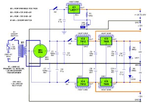 Triple output DC powersupply circuit