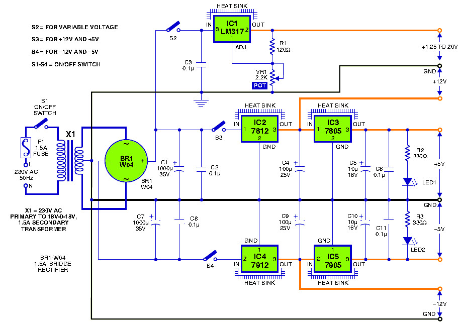 triple output dc power supply power supply circuitstriple output dc power supply