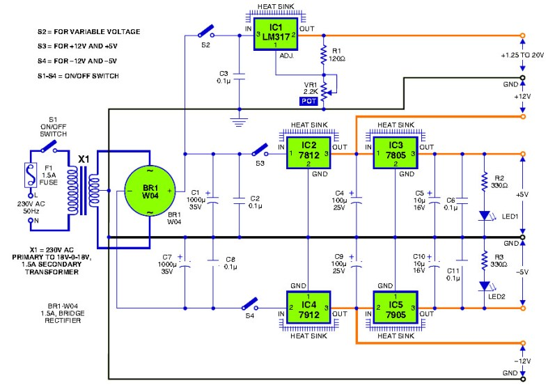 12V 1A Transformerless Power Supply Circuit Diagram | Triple Output Dc Power Supply Power Supply Circuits