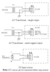 input (transformer) power supply configuration