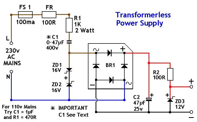 Transformerless power supply 12v