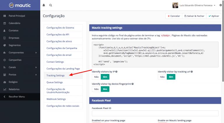 Tracking Settings nas opções de Configuração