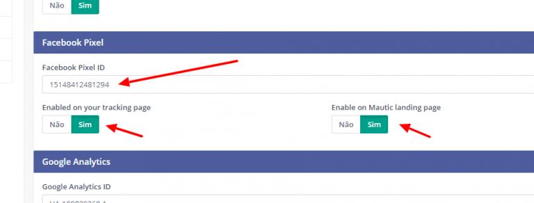 Configurações do Mautic com Facebook Ads