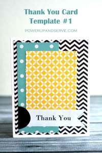 Easy thank you card template. Use 3 papers of your choice plus scissors and glue and you have a card made in 10 minutes or less!