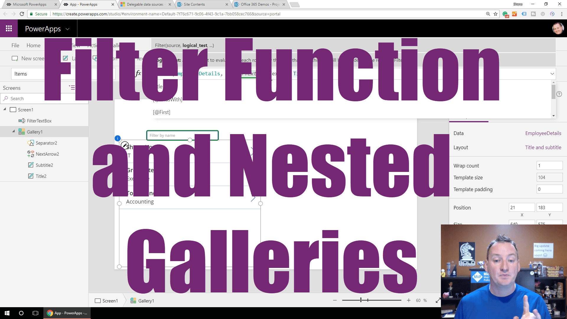 Powerapps Filter Function And Nested Galleries