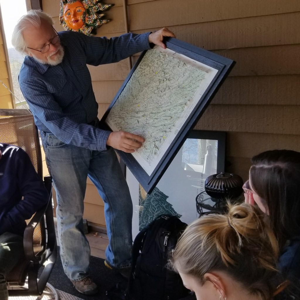 David Seriff Using His Porch for a Classroom During a Recent Site Visit with Students from Virginia Tech