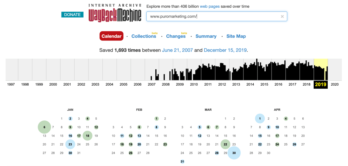 Internet Archive result of getting lost or missing web pages