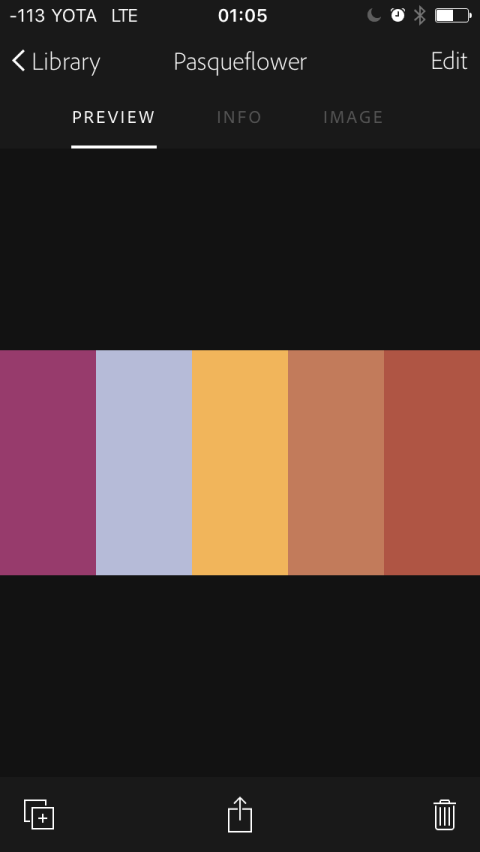 Просмотр цветовой палитры в приложении Adobe Capture CC