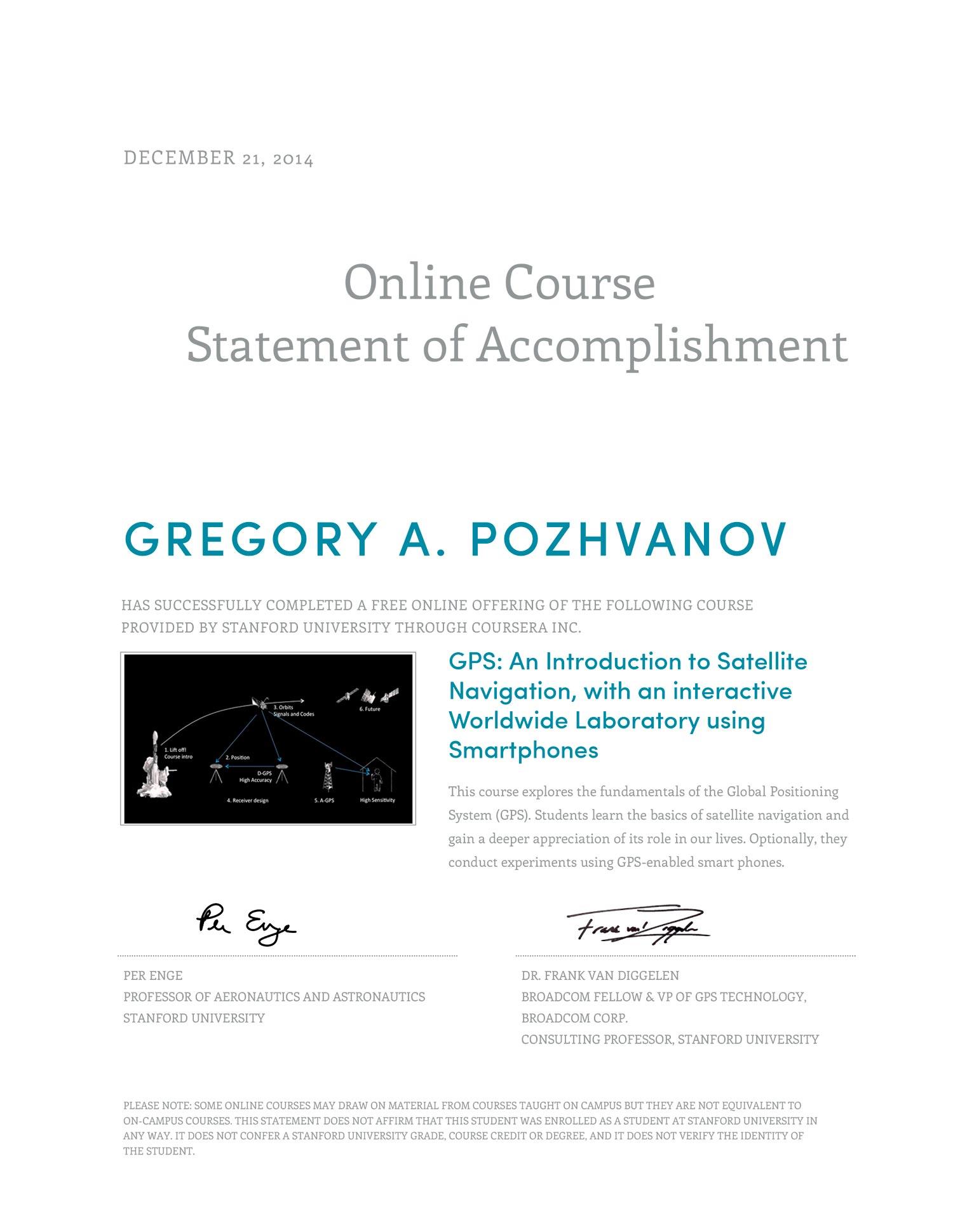 Coursera statement of accomplishment to Gregory A. Pozhvanov