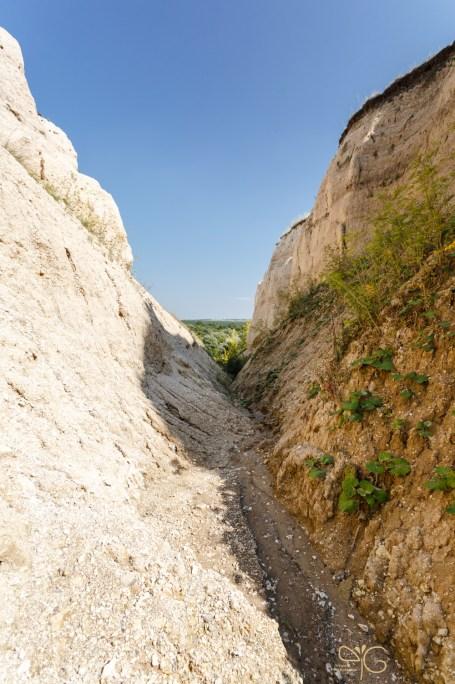 Крутые склоны мелового каньона у Беломестного