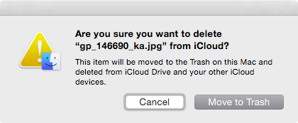 File deletion warning from iCloud