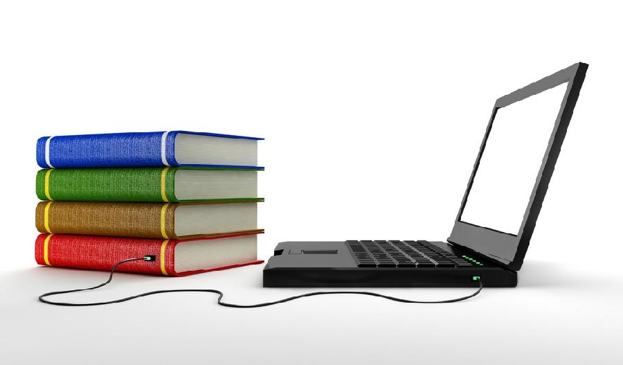 Картинка компьютера и книги