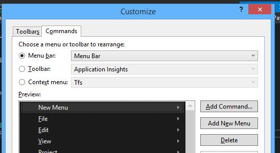 visual studio customize add new menu