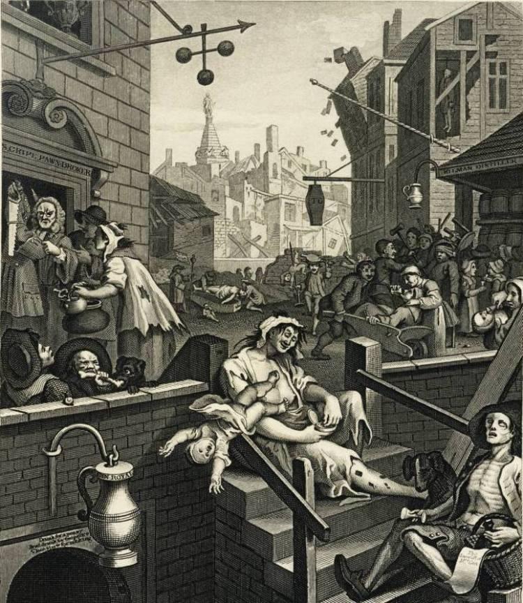 """Пивоной потоп в Лондоне вдохновил художника Уильяма Хогарта к написанию картины """"Переулок джина""""."""