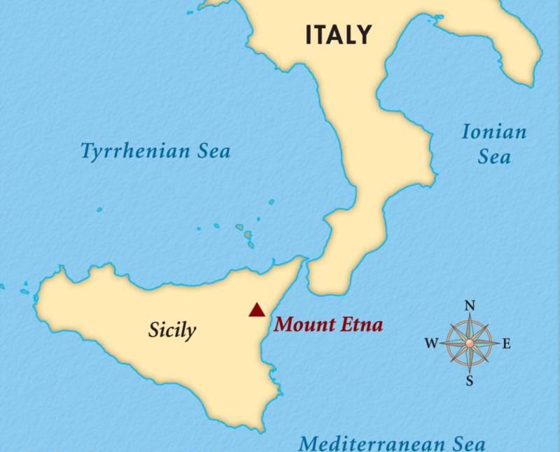 Вулкан Этна на карте.