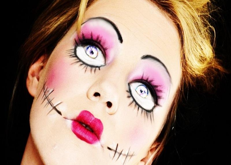 Простой макияж на Хеллоуин, образ куклы Хэллоуин