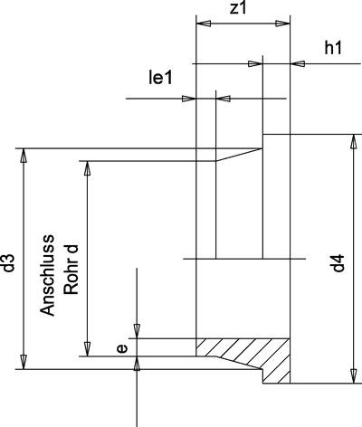 PP-H втулка (бурт) под фланец, короткий сварочный конец 10013568, 1000мм * 30.6мм