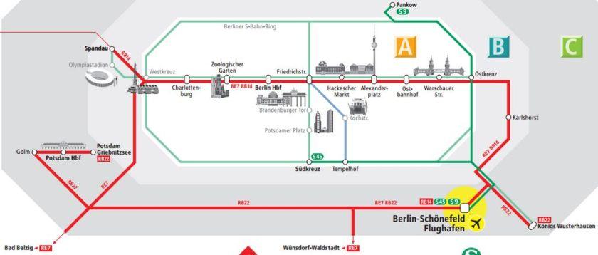 Схема движения поездов и электричек S-Bahn в аэропорту Шенефельд