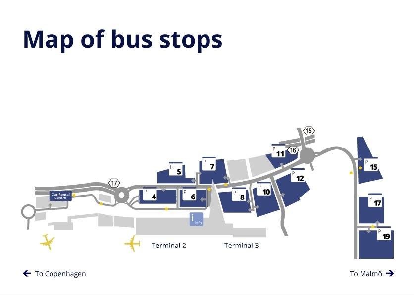 Расположение автобусных остановок в аэропорту Копенгагена