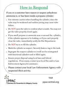 Page 2 of MethBusters informational sheet on ways to respond if an employee makes contact with a suspicious propane tank.