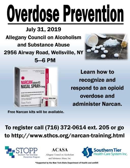 Narcan poster ACASA, July 31 2019