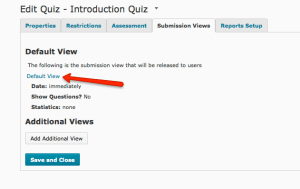 Quiz Submission View tab