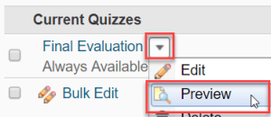 Previewing a Quiz in D2L